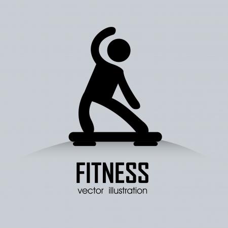 aerobica: astratto uomo facendo esercizio su sfondo grigio