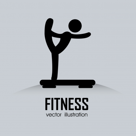 abstract man doing exercise on gray background Vector