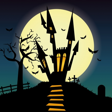 abstract castle silhouette on special halloween background Vector