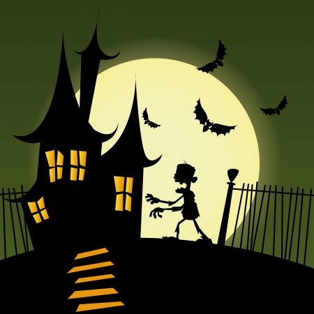 abstract castle and zombie silhouette on special halloween background Vector