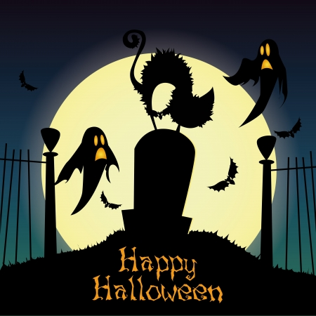 abstract cat and ghosts silhouette on special halloween background Vector