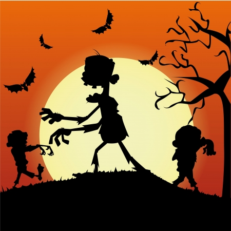 abstract zombies silhouette on special halloween background Vector