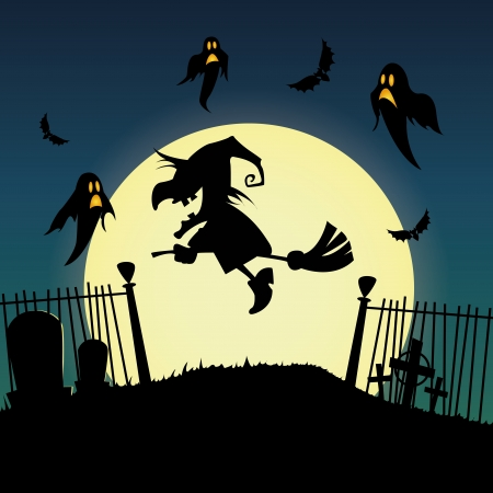 abstract witch silhouette on special halloween background Vector