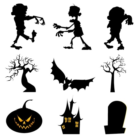 abstract halloween silhouette icons on white background Vector