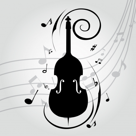 特別な音楽背景に抽象的なチェロのシルエット  イラスト・ベクター素材