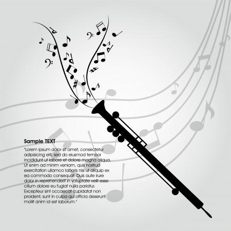 clarinet: silueta clarinete abstracta sobre fondo especial de la música Vectores