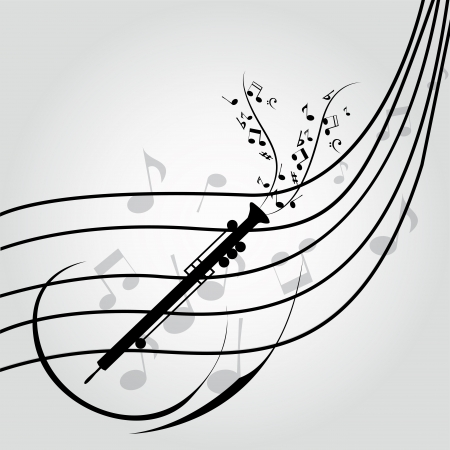 clarinet: abstract clarinet on music score on special music background