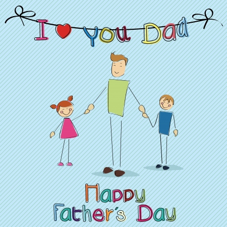 special fathers day card on blue background Vector