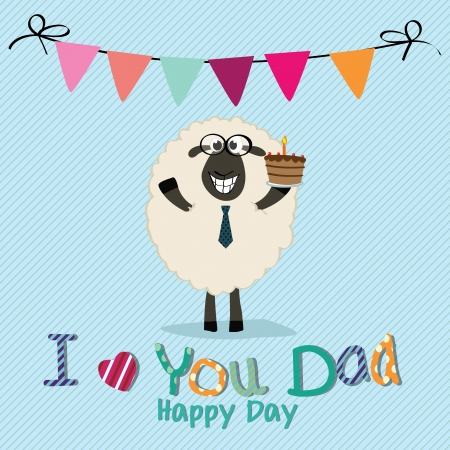 sheep with a cake celebrating fathers day on special blue background Vector