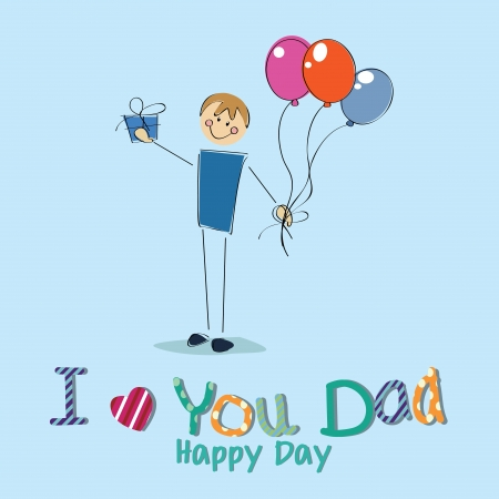boy with a present celebrating Fathers day on blue background Vector