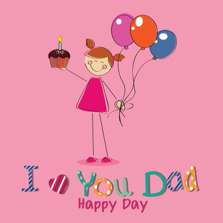 girl with a present celebrating fathers day on pink background Vector