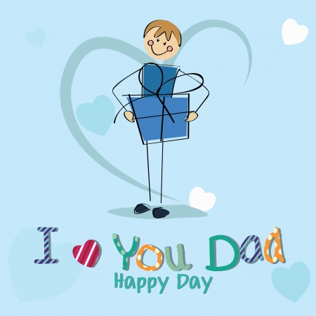 boy with a big present celebrating fathers day on special blue background Vector