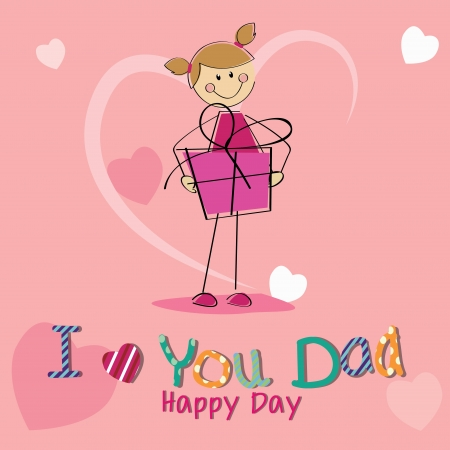 girl with a big present celebrating fathers day on special pink background Vector