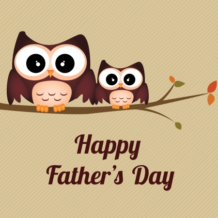 two owls celebrating fathers day on light brown background Vector