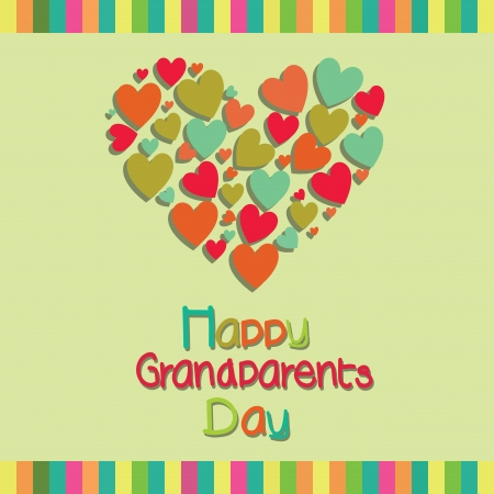 Happy Grandparents day text with a big abstract heart on special background Vector