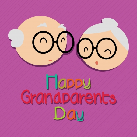 Happy grandparents day with abstract grandparents faces on purple background