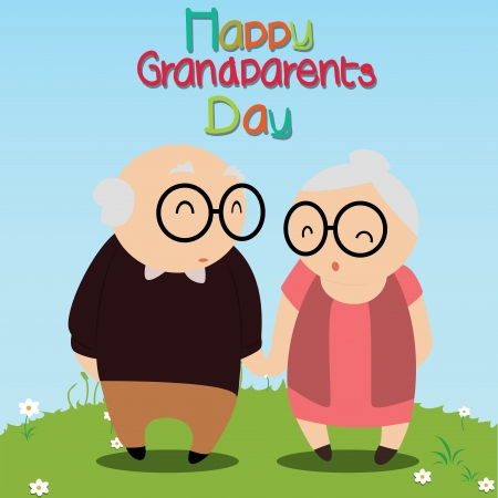 Grandfather and grandmother on abstract special background Vector