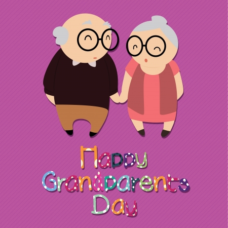 happy grandparents day with abstract grandparents characters on purple background Vector