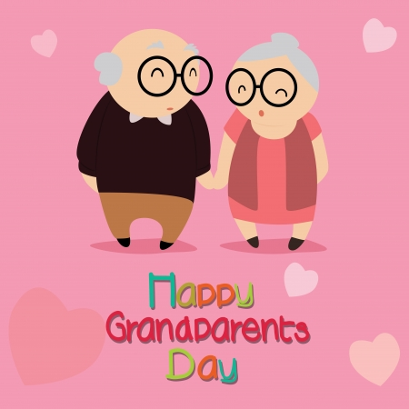 happy grandparents day text with abstract grandparents characters on special pink background Vector