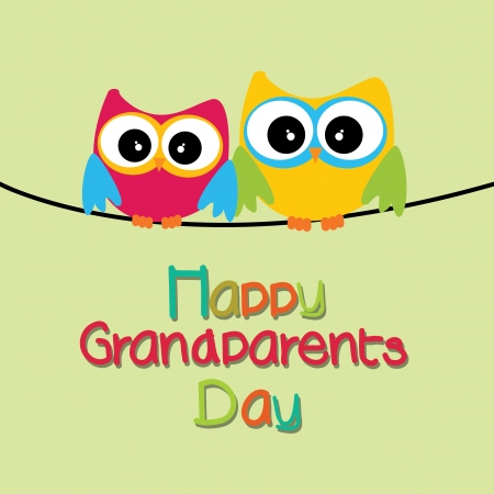 two owls with happy grandparents day text on light green background Vector