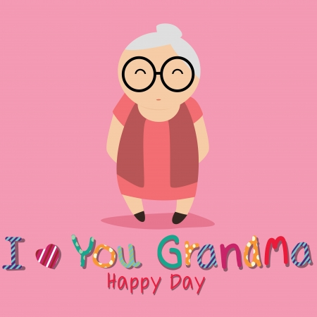 I love you grandma text with abstract grandmother character on pink background Vector