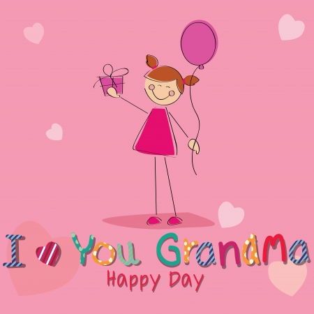 girl with a present celebrating grandparents day on special pink background Vector