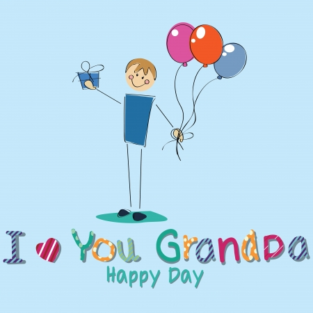 boy with a present celebrating grandparents day on blue background Vector
