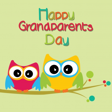 happy grandparents day text with two owls on light green background