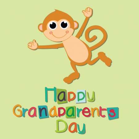 cute monkey celebrating grandparents day on light green background