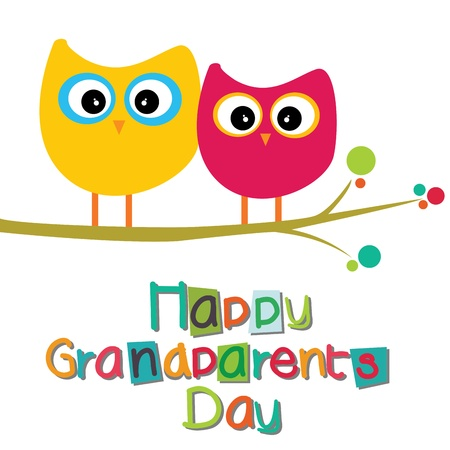 happy grandparents day text with two owls on white background Vector