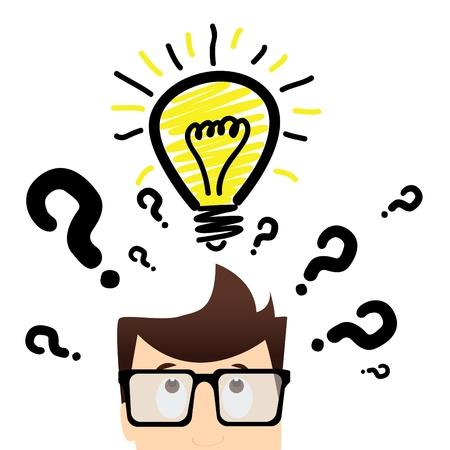 homme avec beaucoup de questions et une ampoule qui représente une idée sur fond blanc