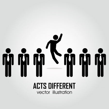 leadership abstract: one person acting different in a group on people on white background Illustration