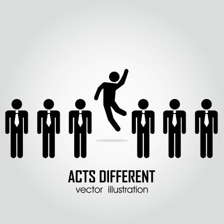 una persona que actúe diferente en un grupo de personas en el fondo blanco