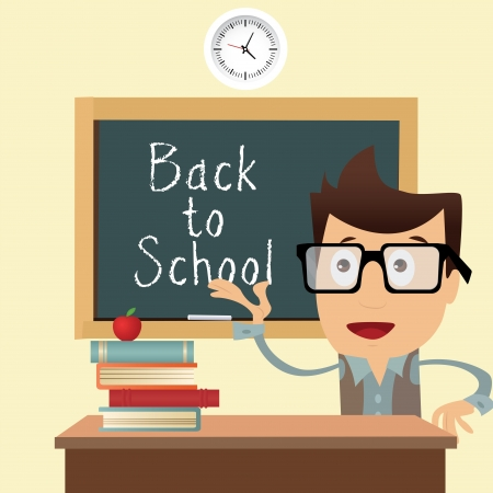 teacher and back to school text on board on abstract classroom background Illustration