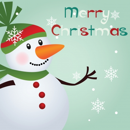 Merry Christmas text and cute snowman on special background Vector