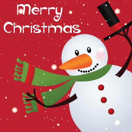 Merry christmas text and cute snowman on red background Vector
