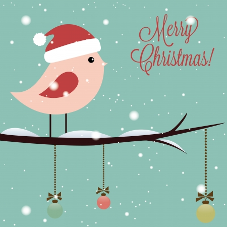 Merry Christmas text and cute bird on special blue background Vector