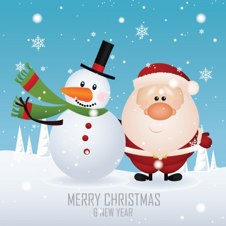 Cute snowman and Santa claus on special background