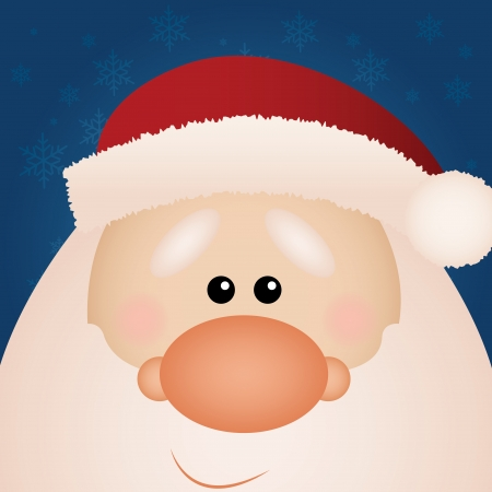 cute santa Claus face on special blue background Vector
