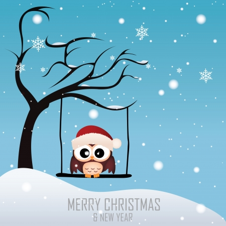 Owl with a Christmas cap on special winter background Vector