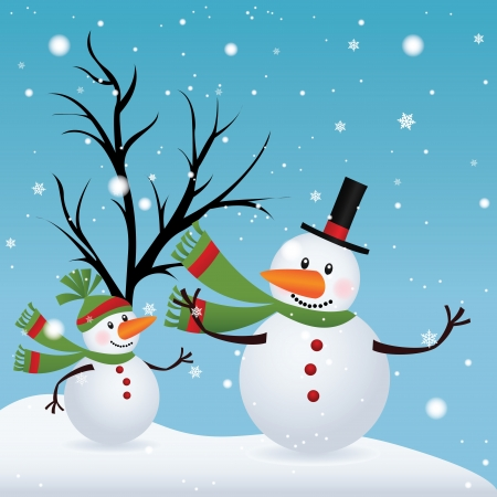 two cute snowman on special winter background Vector
