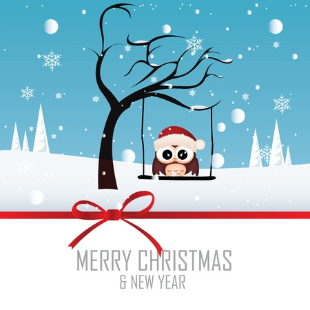 Cute owl with Christmas cap on special winter background Vector
