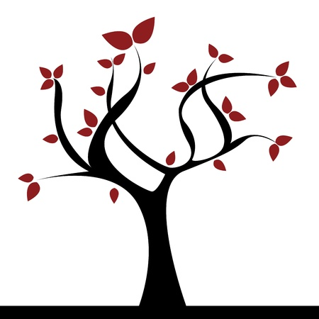 black: abstract tree with red leaf on white background