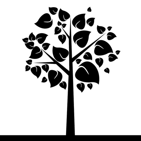 cute tree: abstract cute tree with big black leaf on white background