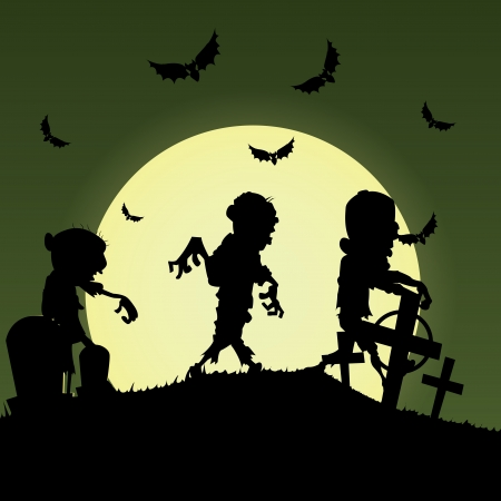 abstract zombies silhouette on special halloween background 向量圖像