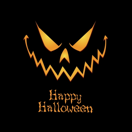 abstract pumpkin face and Happy Halloween text on black background Stock Vector - 21951481