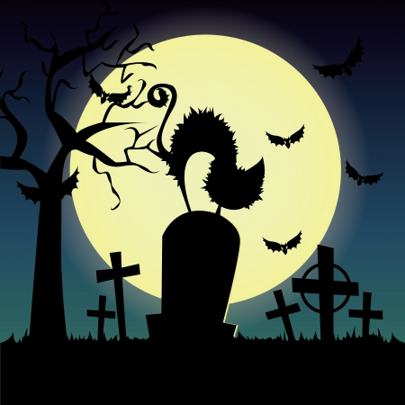 abstract cat silhouette on grave on special halloween background