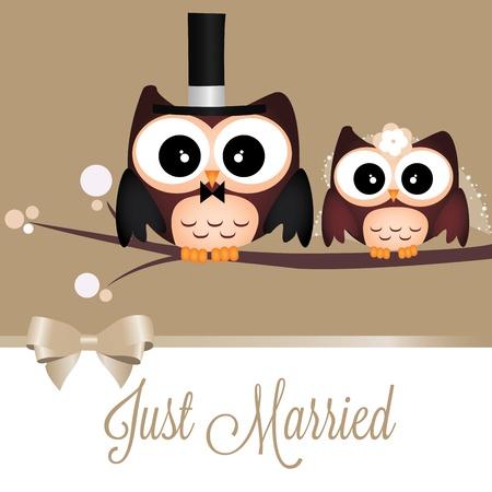 Twee leuke uilen net getrouwd op speciale achtergrond