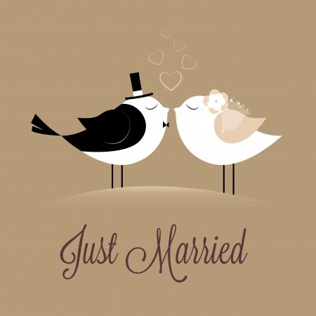 heiraten: zwei Vögel in der Liebe Just married auf braunem Hintergrund
