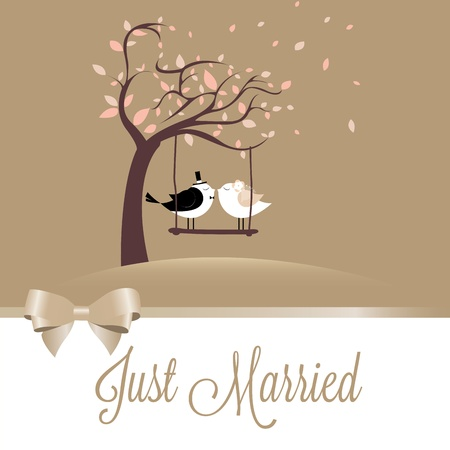 two birds in love just married on special background Vector